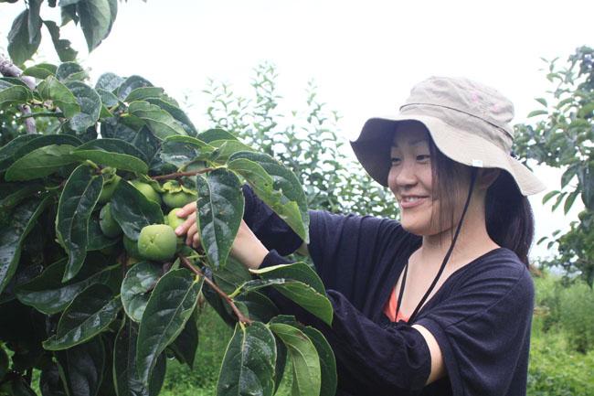 写真8(麻都香さんと柿畑)